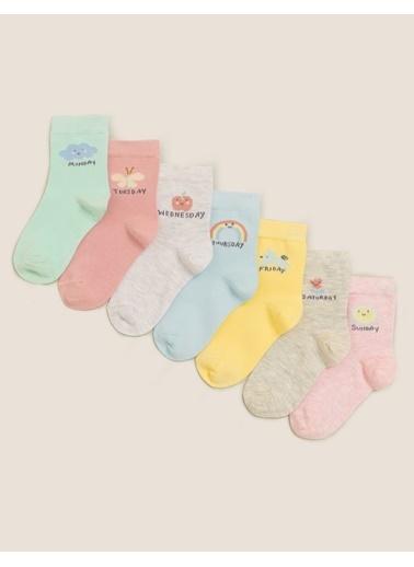 Marks & Spencer 7'li Haftanın Günleri Baskılı Çorap Seti Renkli
